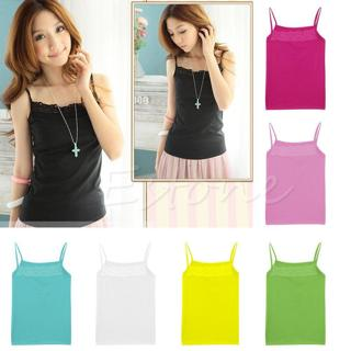 New Women Sleeveless Camisole Basic Stretch Spaghetti Cotton Lace Tank Tops Cami