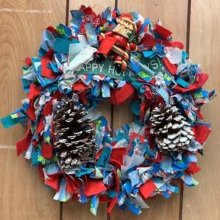 Homemade Christmas Rag Wreath