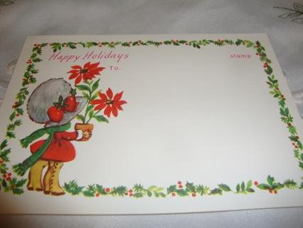 Happy Holidays ~ Vintage Postcard ~ Free Shipping