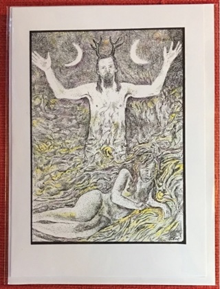 "THE YULE GOD  (Wiccan) - 5 x 7"" art card by artist Nina Struthers - GIN ONLY"