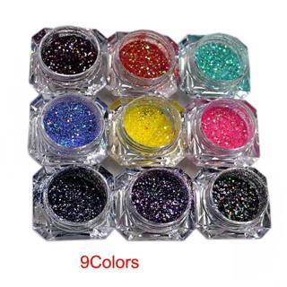 1set /9 boxes 9 Mix Colors Glitter -  iridescent Glitter -  Mix Size Holographic Chunky Glitter Mi