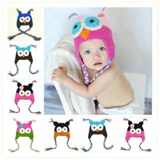 Hot Baby Kids Boy Girl Toddler Owl Knit Crochet Hat Beanie Cap Photo Prop