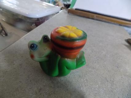 Vintage bisque porcelain frog on his back holds plant on belly