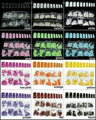 500pcs French Acrylic Artificial Full False Color Nails (10 Sizes)