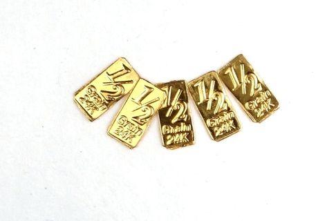 1 PCS, GOLD BULLION TIMES 5 PURE 24K GOLD BARS CC1
