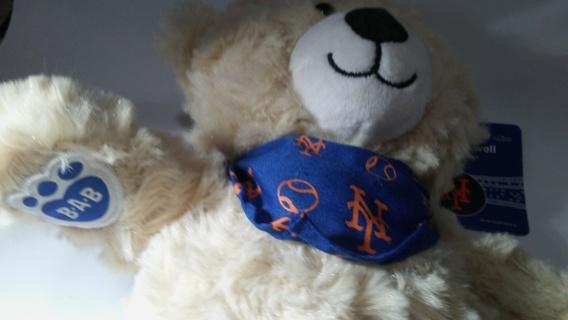 New York Mets Bandana Plush Build A Bear Teddy Bear 9 1/2 inches sports souvenir