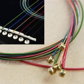 One Set Rainbow Colorful Color Strings For Acoustic Guitar Hot Accessory
