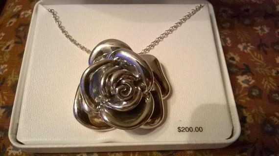 Huge Sterling Silver Rose Necklace NEW