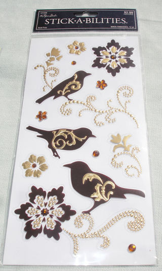 Brown and Gold Bird and Floral Stickers by STICK-A-BILITIES - Paper Crafts