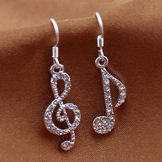 [GIN FOR FREE SHIPPING] Music Notes Clear Crystal Silver Lady Dangle Earrings