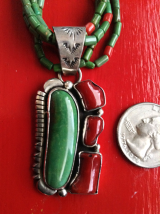 Vintage Signed Brandon Williams Navajo Turquoise, Coral and Sterling Necklace and Earring Set!!