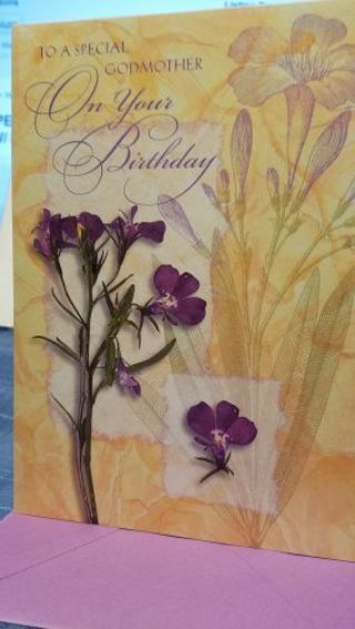 """""""TO A SPECIAL GODMOTHER ON YOUR BIRTHDAY"""" CARD, W/ PURPLE ENVELOPE"""