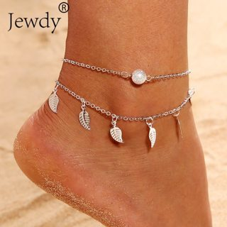 2 Color Multilayer Leaves Pendant Anklet Summer Beach Foot Chain Bohemian Handmade Beads Anklets