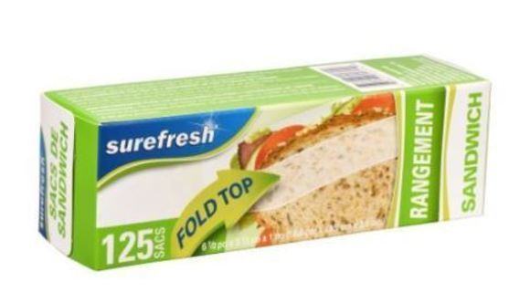 ~~~ 5 (FIVE) BOXES OF NEW: Sure Fresh Fold-Top Sandwich Bags, 125-ct. Boxes