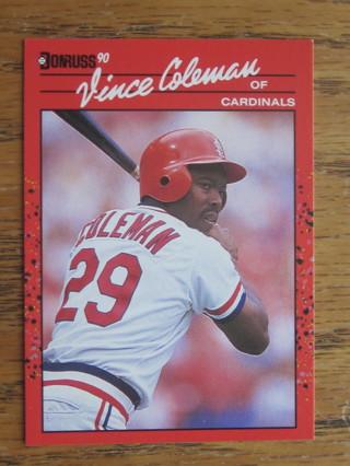 Free 1989 Donruss Vince Coleman Baseball Card No 279
