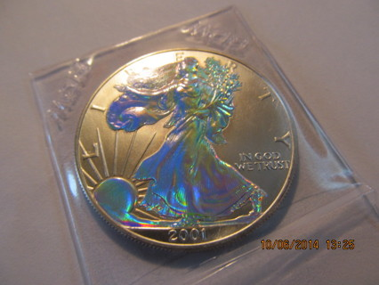 #544-Awesome coin-2001 Iridescent American Silver Eagle-Pristine condition