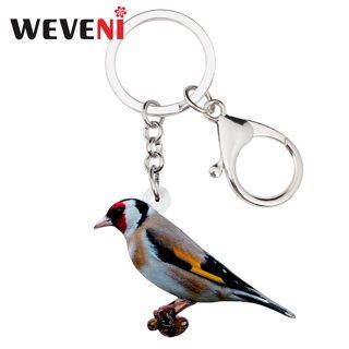 WEVENI Acrylic European Goldfinch Bird Key Chains Holder Ring Fashion Jewelry For Women Girl Car Bag