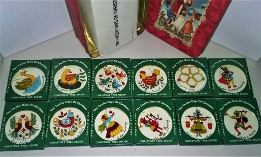 """12 Days of Christmas glass with plastic frame - 2 3/4"""" diameter - Made in Hong King in Christmas tin"""