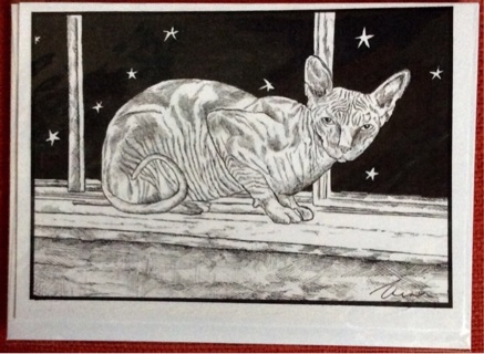"""SPHINX CAT - 5 x 7"""" art card by artist Nina Struthers - GIN ONLY"""