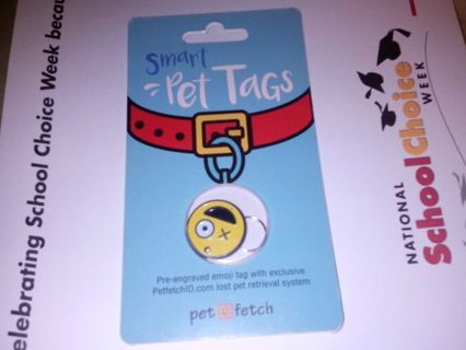 SMART PET TAG. NUMBERS ON BACK OF TAG CONNECTED TO INTERNET.