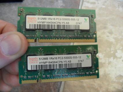 Laptop Memory 512 Mb X 2, hynix korea