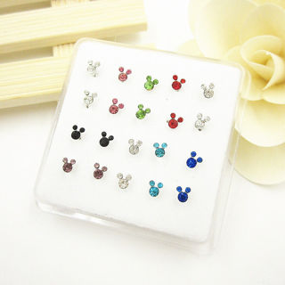 1 22g 925 Solid Silver Mixed Crystal Mickey Mouse Straight Bar Nose Stud