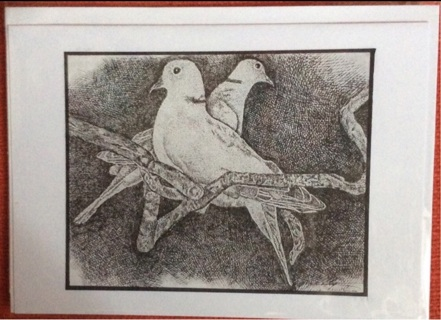 """COLLARED DOVES - 5 x 7"""" art card by artist Nina Struthers - GIN ONLY"""