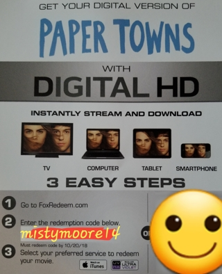Free: Paper Towns Digital HD Movie Code - Other DVDs