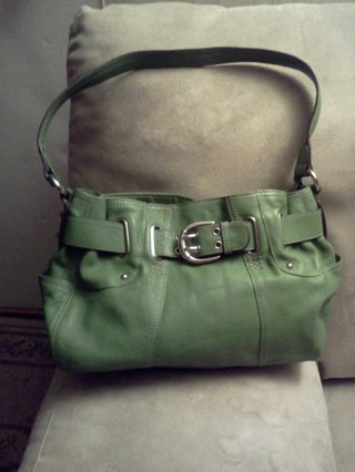 Free Green Leather Tignanello Purse Side Wallet On Back
