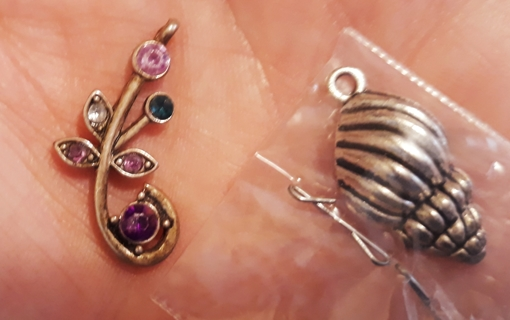 Jewelry - Floral Pendant and Shell Charm