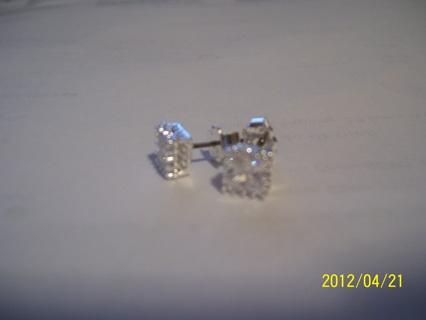 princess cut stud earrings