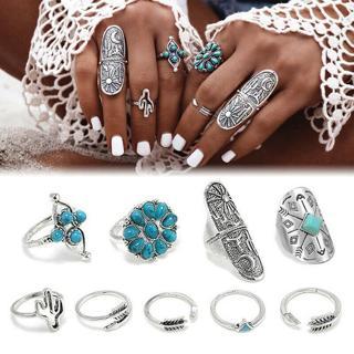9pcs Bohemian Turquoise Arrow Ethnic Boho Open Midi Knuckle Ring Set