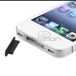 Black Dock Plug Silicone Skin Gel For Apple iPhone 4 3GS 4s 4th