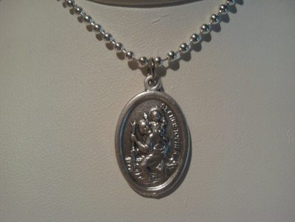 ~ST CHRISTOPHER MEDALLION~NEW~COMES WITH 24 INCH SILVER PLATE CHAIN~NEW~