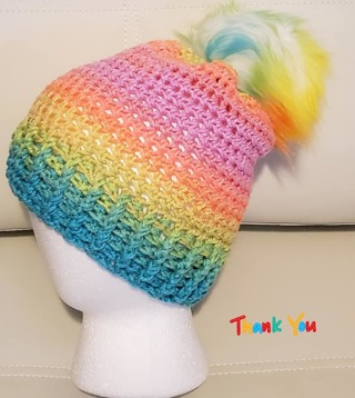 CROCHET 2/3 YEAR OLDS HAT WITH REMOVABLE POMPOM FOR WASHING