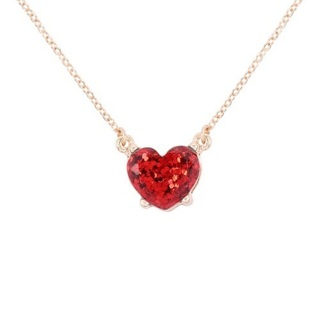 Red Crystal Epoxy Heart Necklace Free Shipping