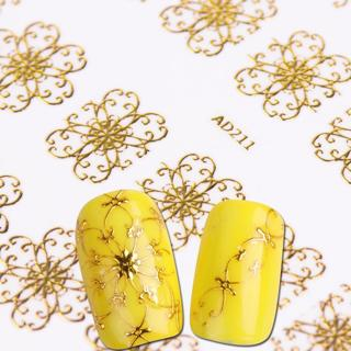 1pcs Nail Sticker Flower 3D Gold Bronzing Decals UV Gel Polishing for Nails Adhesive Manicure Acce