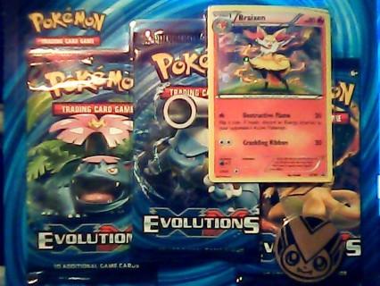 Pokemon Evolutions(Gin Bonus) 3 Pack Blister W/ Promo Braixen+Coin Factory Sealed 2016