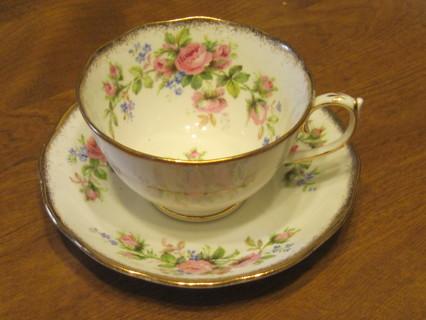 England Moss Rose Bone China Tea Cup & Saucer