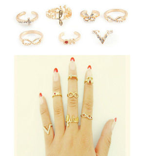 Fashion lots 7Pcs Charm Mix Top Cute Knuckle Gold Cut Above Ring Band Midi Rings