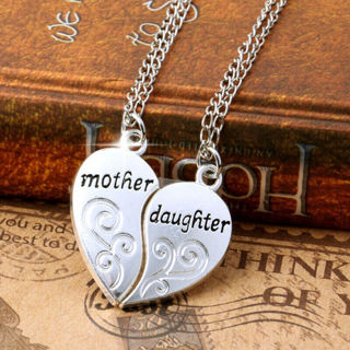 2PC/Set Silver Plated Mother Daughter Flower Love Heart Pendent Chain Necklace