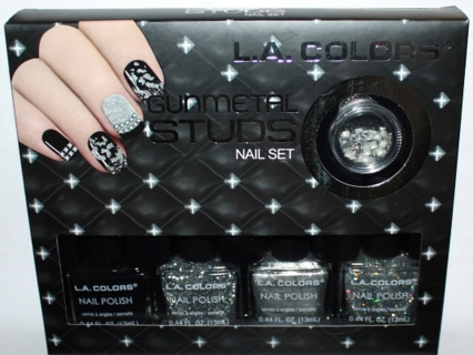 BNIB LA COLORS Perfect New Years Chrome NAIL POLISH Set/Kit w 4 Polishes & Studs Jar - GREAT GIFT