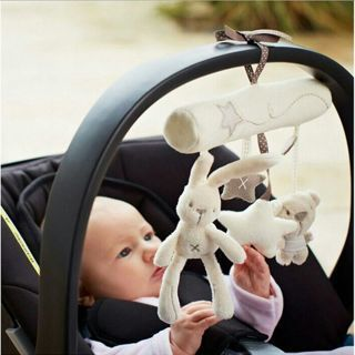 [GIN FOR FREE SHIPPING] Baby Plush Soft Rabbit&Bear&Star Cot/Stroller/Car/Crib Handbell Rattles Toy