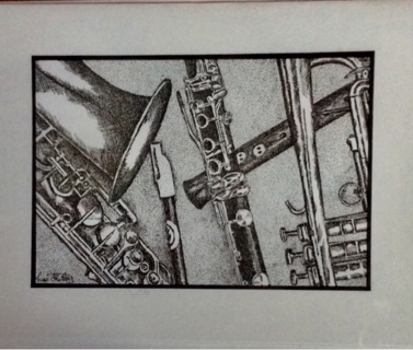 """MUSIC MEDLEY - 5 x 7"""" art card by artist Nina Struthers - GIN ONLY"""