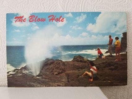 THE BLOW HOLE (Hawaii ) USA postcard