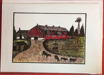 "DAIRY BARN WITH COWS - 5 x 7"" art card by artist Nina Struthers - GIN ONLY"