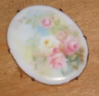 vintage painted porcelain floral cameo