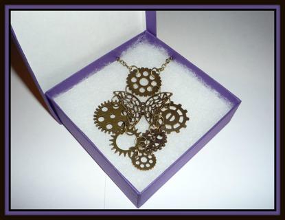 "OOAK Handmade Bronze STEAMPUNK Butterfly & GEARS Long Necklace, 34"", Brand NEW in Gift Box!"