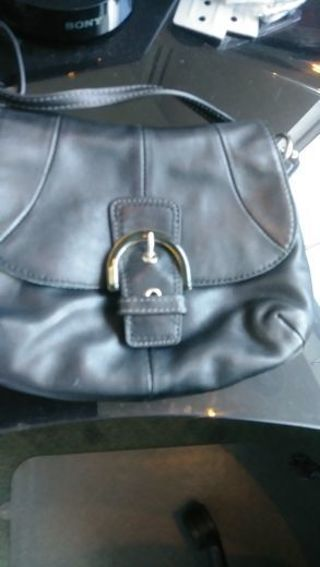 COACH- BLK LEATHER- SHOULDER HANDBAG PURSE