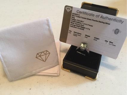 ‼️❤️ BNWT sz 7 6.03ct Tucson Green Fluorite ring‼️ certificate of authenticity‼️ BONUS W GIN‼️